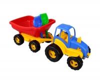 Трактор Pilsan с прицепом, лопаткой и граблями