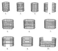 Кровать-трансформер круглая 10 в 1 СКВ-10, маятник, колесо