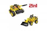 Конструктор 2 в 1 (бульдозер и танк) 261 деталь QiHui QH6803